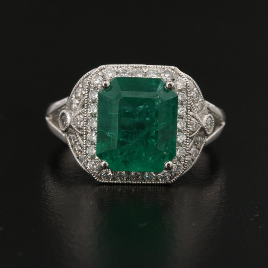 Platinum 4.06 CT Emerald and Diamond Halo Ring with GIA Report