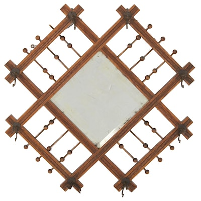 Aesthetic Movement Stick and Ball Hat Rack with Mirror, Late 19th Century