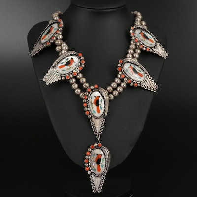 Coral, Abalone and Mother of Pearl Inlay Feathers and Swirling Wind Necklace