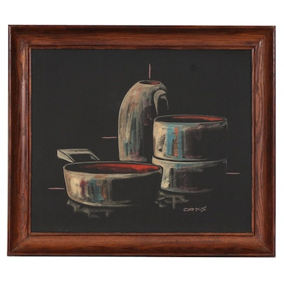 Cay-Skot Oil Painting of Still Life Composition, Mid to Late 20th Century