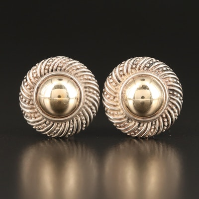 James Avery Sterling Clip-On Earrings with 14K Center Disc