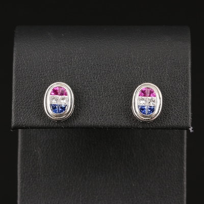 Platinum Diamond, Sapphire and Ruby Stud Earrings