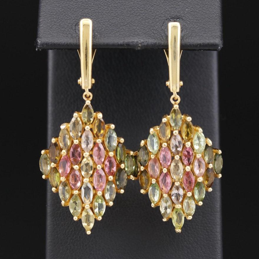 Sterling Silver Tourmaline Dangle Earrings