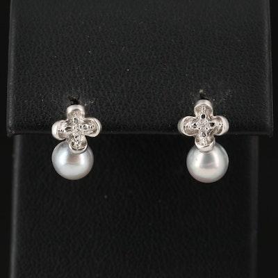 14K Pearl and Diamond Quatrefoil Earrings