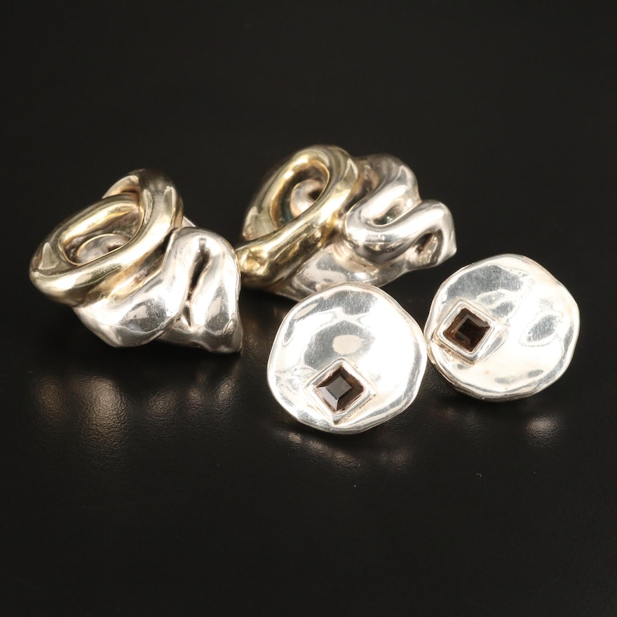 Sterling Silver Electroform Earrings Including Smoky Quartz Accents
