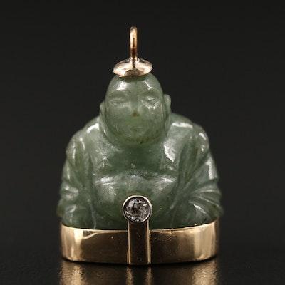 10K Jadeite and Diamond Buddha Pendant