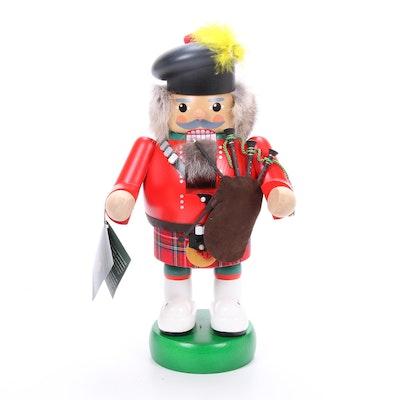 Richard Glässer Folk Art Handcrafted Scottish Piper Nutcracker