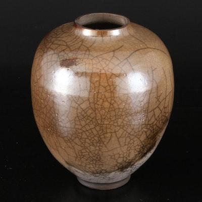 Pearl Raku Stoneware Pottery Vase