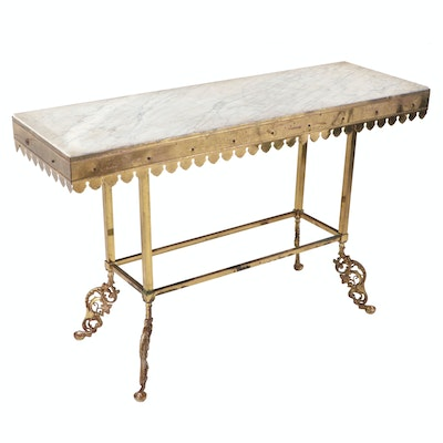 French Brass, Wood and Marble Top Pastry Table, Late 19th/Early 20th Century