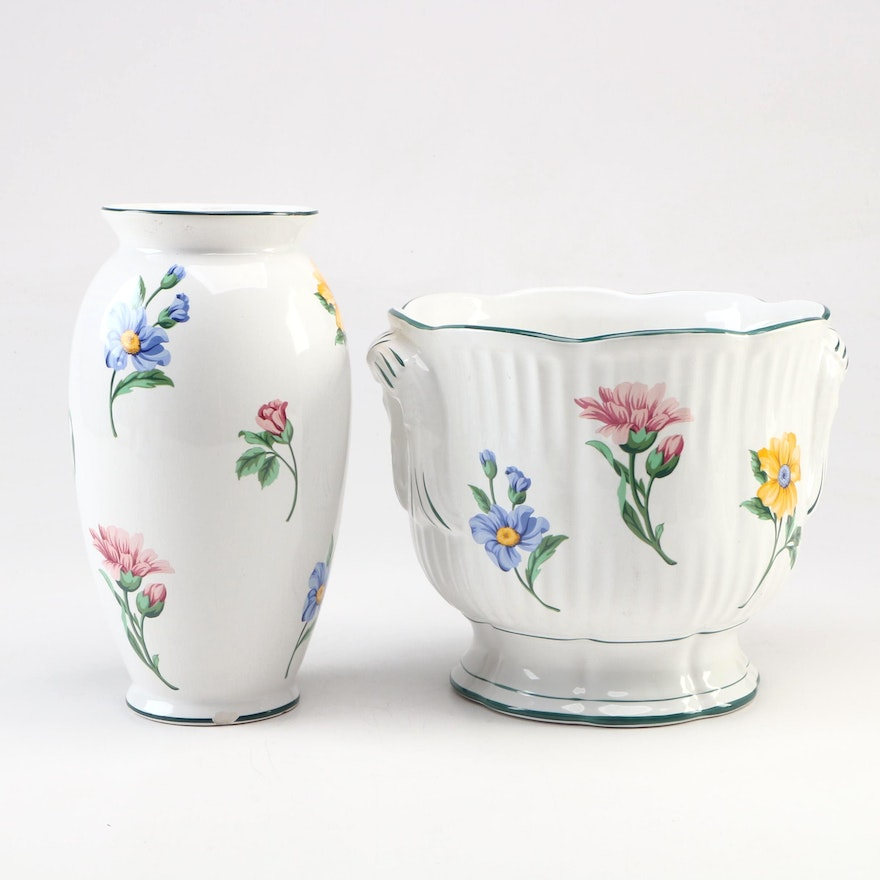 """Tiffany & Co. """"Sintra"""" Porcelain Vase and Planter, Late 20th Century"""