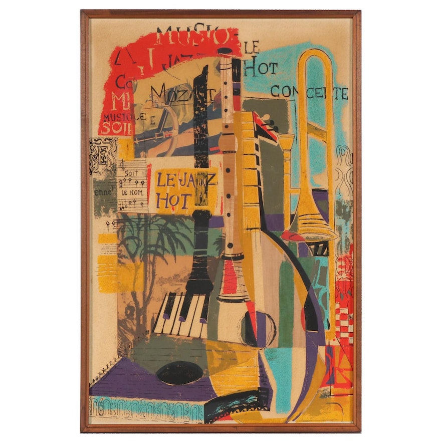 Abstract Mixed Media Assemblage of Hot Jazz Composition, 20th Century