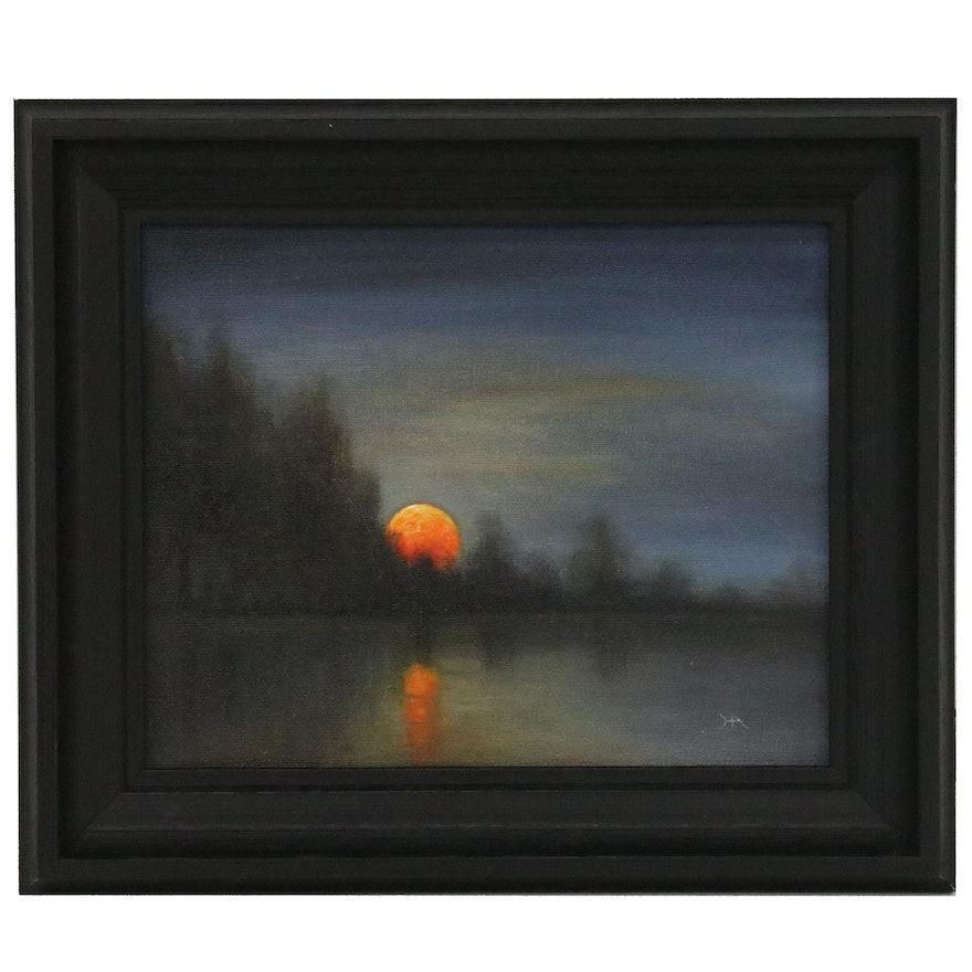 """Houra H. Alghizzi Landscape Oil Painting """"Moonrise at the Lake"""""""