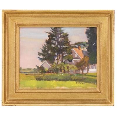 "Hal Dewaltoff Oil Painting ""Wainscott Farmhouse"""