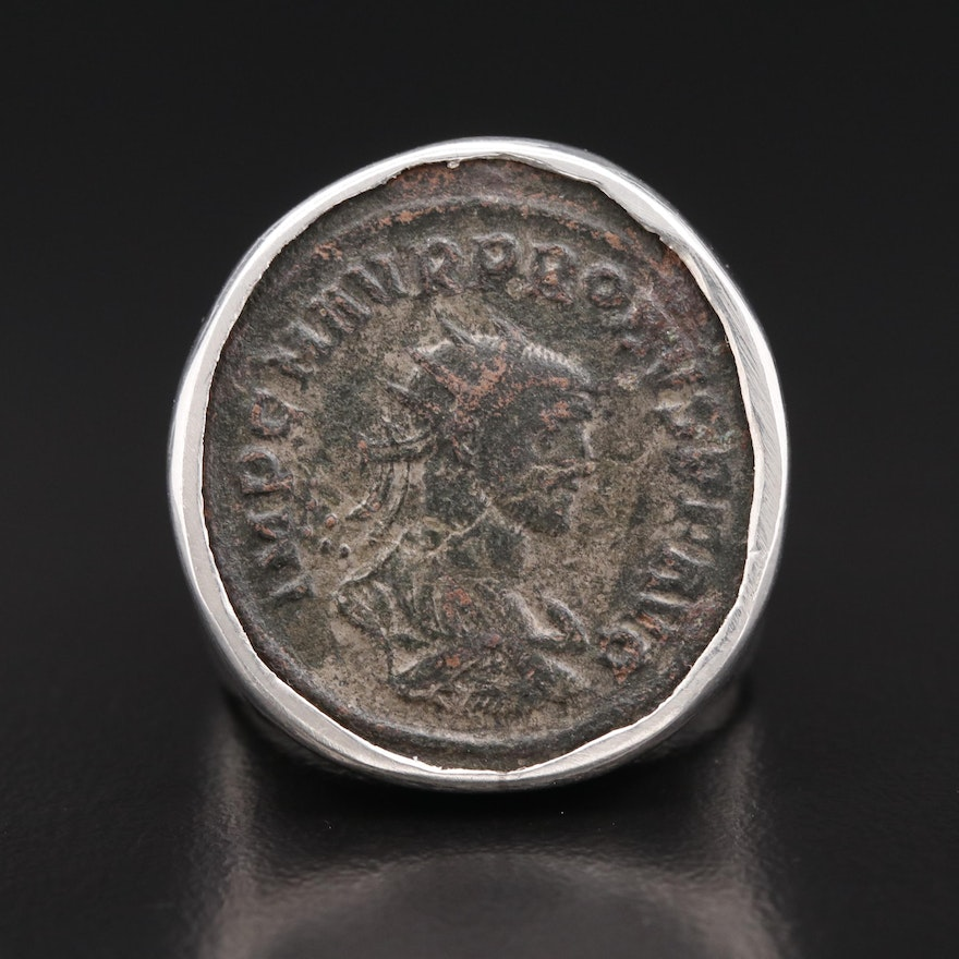 950 Ring with Circa 280 A.D.Ancient Roman Imperial AE Antoninianus of Probus