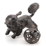 Cast Metal Chinese Guardian Lion Statue with Ornate Ball