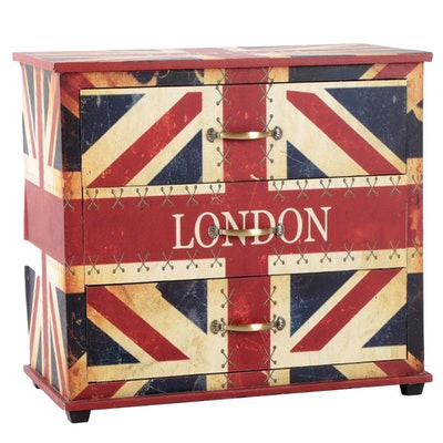 Canvas-Lined and Transfer-Printed Union Jack Three-Drawer Bedside Chest