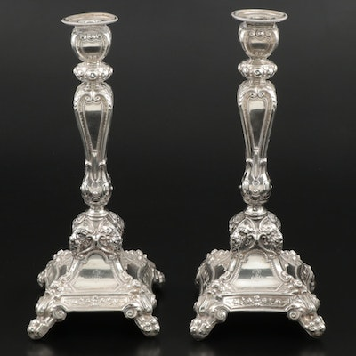 Austro-Hungarian 800 Silver Candlesticks, Late 19th/Early 20th Century