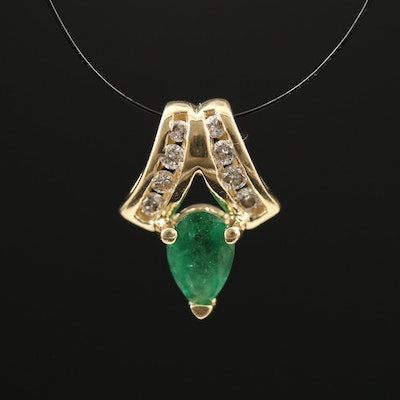 14K Emerald and Diamond Pendant with Channel Set Bail