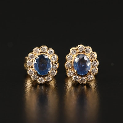 18K Sapphire and 0.24 CTW Diamond Stud Earrings
