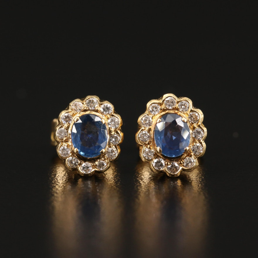 18K Sapphire and 0.24 CTW Diamond Stud Earrings