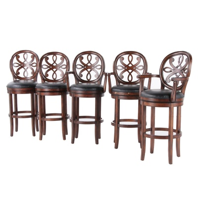 Five Wood and Vinyl Upholstered Barstools
