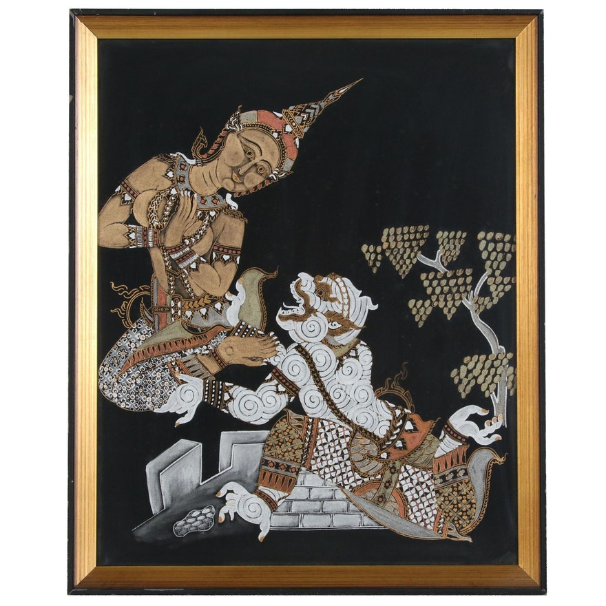 Thai Gouache Painting of Deities, Mid to Late 20th Century