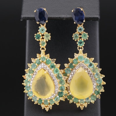 Sterling Silver Common Opal, Sapphire and Emerald Cannetille Style Earrings
