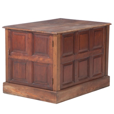 Coffered Oak Cabinet, 20th Century