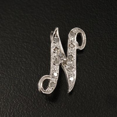 "14K Diamond  ""N"" Pendant"