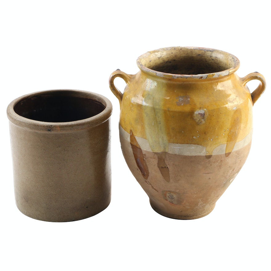 French Country Road Pottery Amphora Vase and Other Stoneware Planter