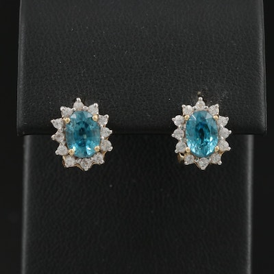 14K Zircon and Topaz Earrings