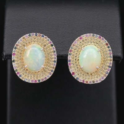 Sterling Silver Opal and Sapphire Button Earrings