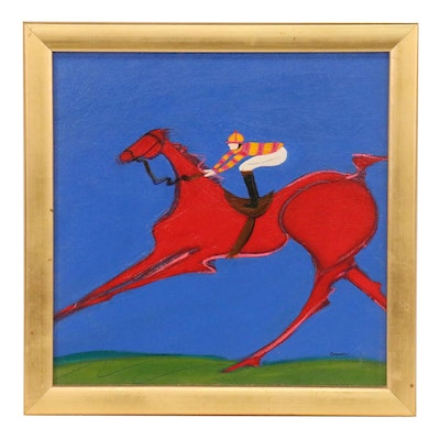 "Patti Cramer Acrylic Painting of Horse and Jockey ""Red Rider"""
