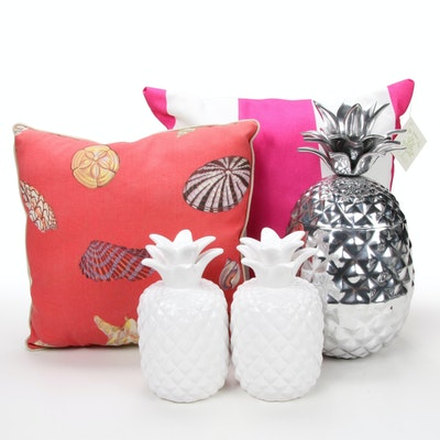 Pineapple Themed Decorative Objects and Pillows, Contemporary