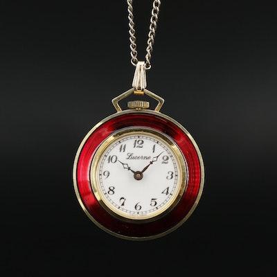 Vintage Lucerne Enamel and Gold Tone Pendant Watch