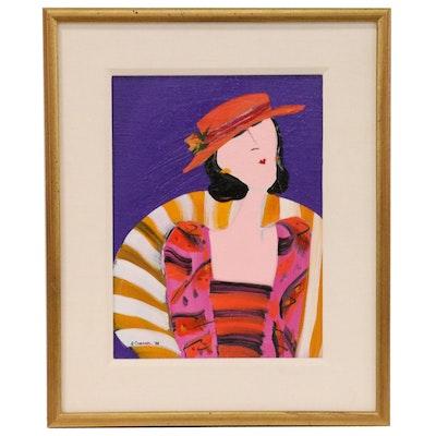 "Patti Cramer Portrait Acrylic Painting ""No Shrinking Violet"""