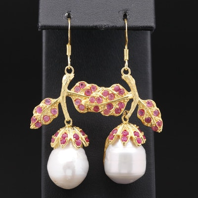 Sterling Silver Pearl and Ruby Foliate Earrings