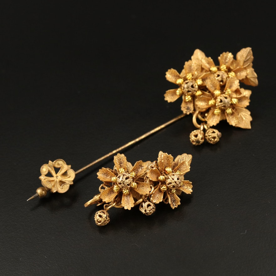 Stanley Hagler NYC Vintage Foliate Stick Pin and Clip-On Earrings Set