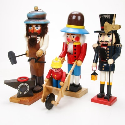 Wooden Blacksmith and Other Nutcrackers, Late 20th Century