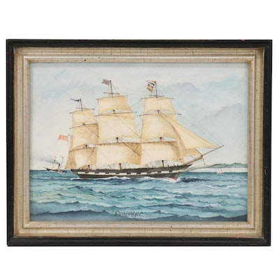 "Watercolor Painting of Clipper Ship at Sea ""Prospero"""