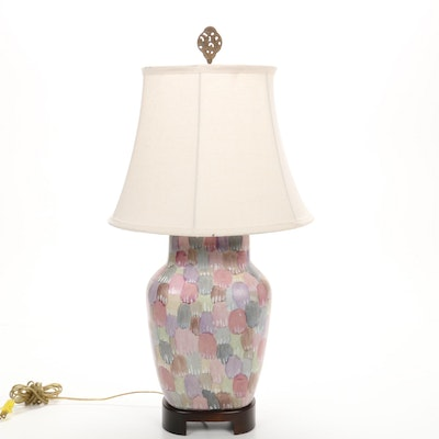 Frederick Cooper Painted Ceramic Table Lamp on Wooden Stand