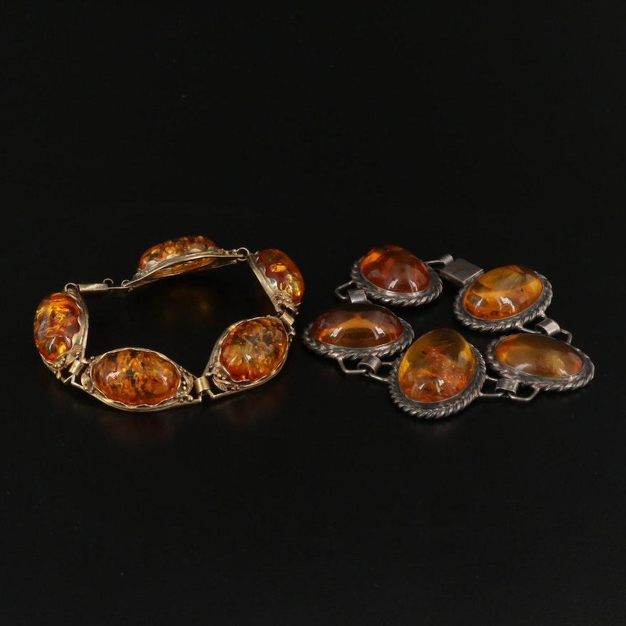 Vintage Sterling Silver Amber and Copal Link Bracelets