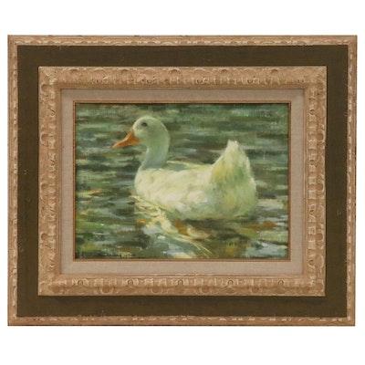 """John Galvan Oil Painting of Swimming Duck """"Napoleon"""", 1984"""