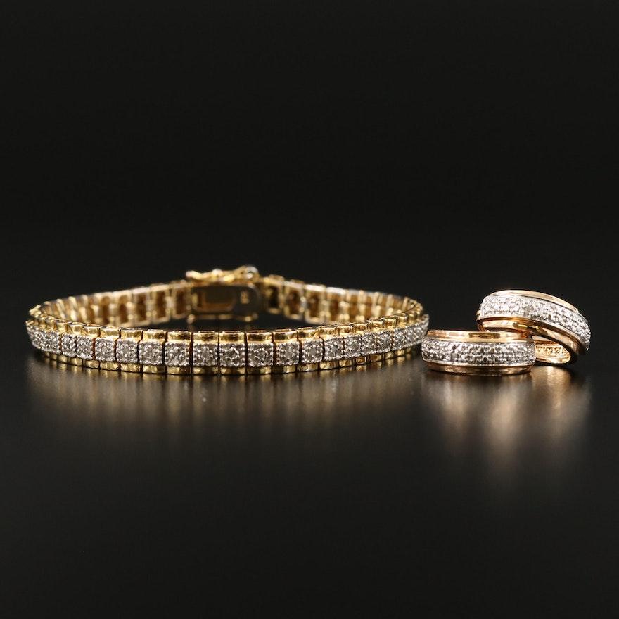 Sterling Diamond Link Bracelet and Hoop Earring Set