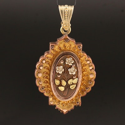 Victorian Locket Pendant with Floral Motif and 10K Accents
