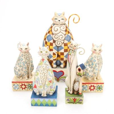 "Jim Shore ""Evangaline"", ""Windsor"" and ""Tilly"" Feline Figurines"