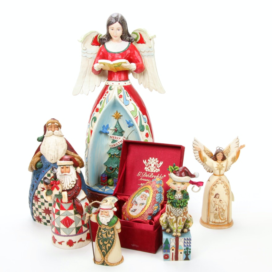 """Jim Shore """"Santa Claus"""" and Other Christmas Figurines with G. DeBrekht Box"""