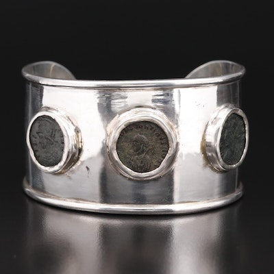 950 Silver  Cuff with Three Circa 320 A.D. to Circa 330 A.D. Coins