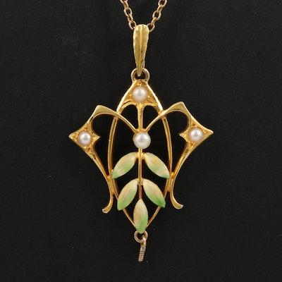 Art Nouveau Krementz 14K Pearl Lavalier Necklace with Enamel Accents