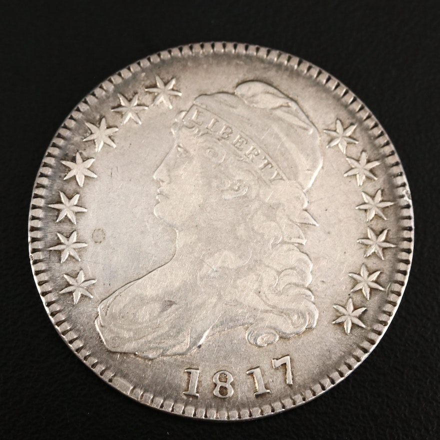 """1817 Capped Bust """"Punctuated Date"""" Silver Half Dollar"""